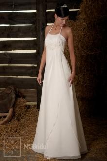 Luftiges Brautkleid aus Satin und Seidenchiffon mit feinen Spaghetti-Trägern - 101101