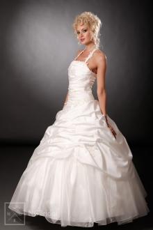 Duchesse-Brautkleid aus luxuriösem Taft und mattiertem Organza mit attraktivem Neckholder - 101002