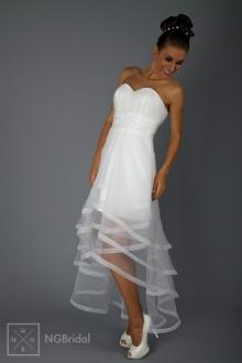Elegantes kurzes Brautkleid aus Organza und Strass - 1815