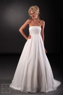 Schlichtes Brautkleid aus weichem Satin und Seidenchiffon mit feiner Spitzenkante und Kristallen unter der Büste - 101011