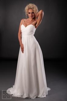 Feenhaftes Brautkleid mit diskreten Spaghetti-Trägern, freifallendem Rock aus Chiffon und eleganter Schleppe - 101005