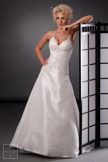 Brautkleid in A-Linie mit V-Ausschnitt und Spaghetti-Trägern - 101014