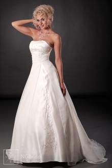 Klassisches Brautkleid aus Satin und Chiffon mit hoher Taille und voluminösem schlichtem Rock - 101006