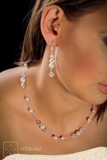 Brautschmuck Brautkette mit Swarovski Beads 2-teilig - N-6