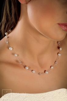 Braut Halskette mit Swarovski Perlen und Kristallen - N-4