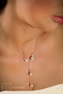Braut Halskette Schmuckdraht und Swarovski Beads - N-8