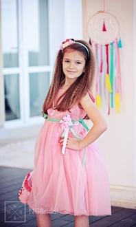 Festliches Kinderkleid mit Tüllrock und Rose  - Modell 215