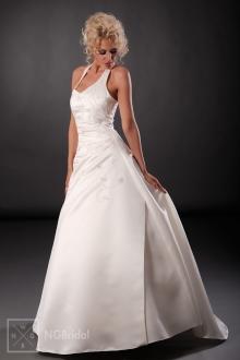 Brautkleid in A-Linie mit breitem Neckholder - 101010