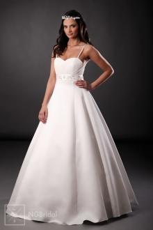 Zugeschnittenes schlichtes Brautkleid aus Satin - 101004