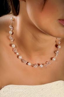 Brautkette handgefertigt Swarovski Perlen und Kristallen - N-2