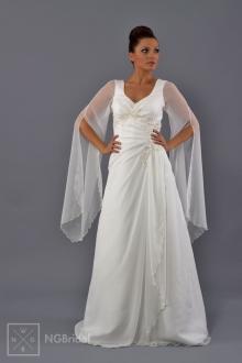 Durch die rätselhaften Ärmel wird der märchenhafte Anblick dieses Brautkleids betont. Das Modell ist mit Spitze arrangiert. - 1719